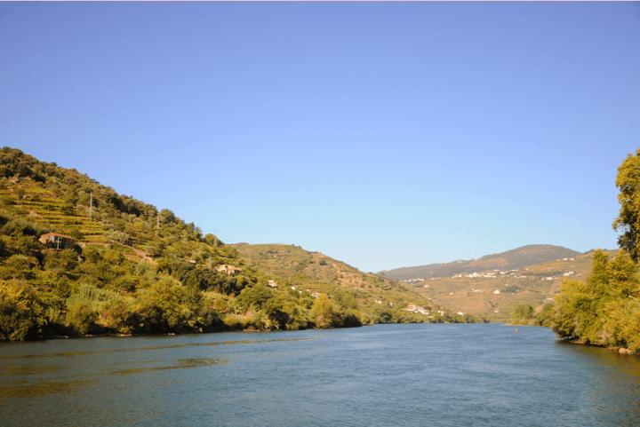 Paisagem verde com rio e montanhas no douro
